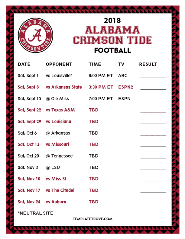 photograph about Football Printable identified as Printable 2018 Alabama Red Tide Soccer Routine