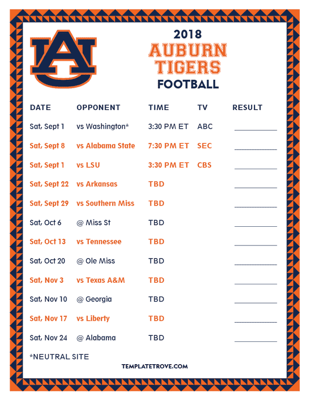 photo regarding Tigers Printable Schedule referred to as Printable 2018 Auburn Tigers Soccer Agenda