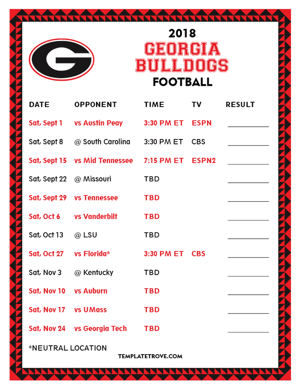 georgia bulldogs 2020 schedule