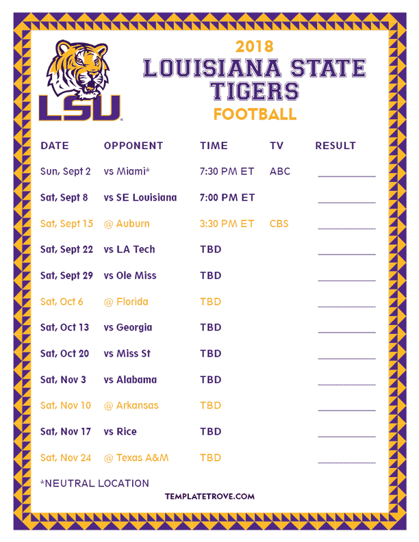 photograph regarding Printable College Football Schedules named Index of /Schedules/Faculty-Soccer/2018/SEC/LSU
