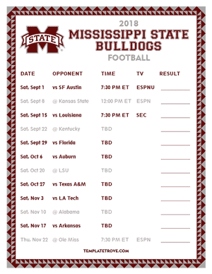 Mississippi State Bulldogs Football 2018 Printable Schedule