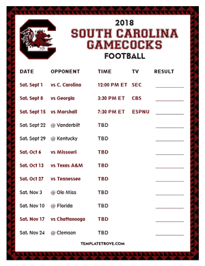 South Carolina Gamecocks Football 2018 Printable Schedule
