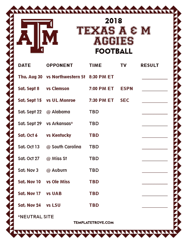 texas aggie football schedule for 2018