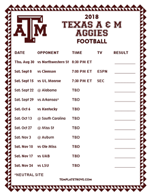 Texas A & M Aggies Football 2018 Printable Schedule