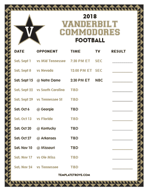 Vanderbilt Commodores Football 2018 Printable Schedule