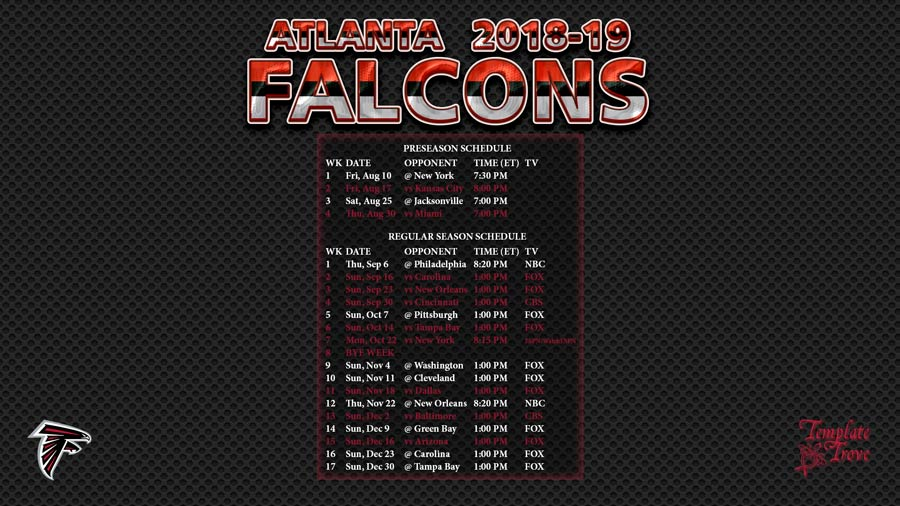 Atlanta Falcons 2018 19 Wallpaper Schedule