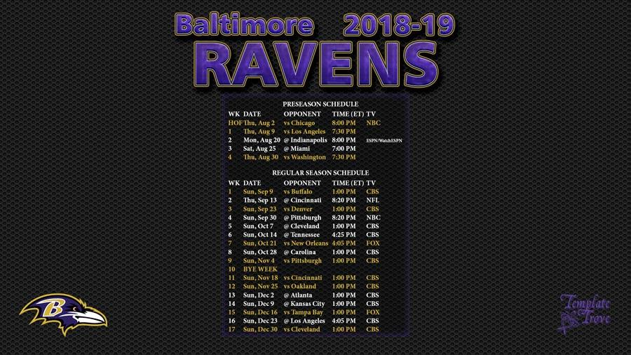 Baltimore Ravens 2018-19 Wallpaper Schedule