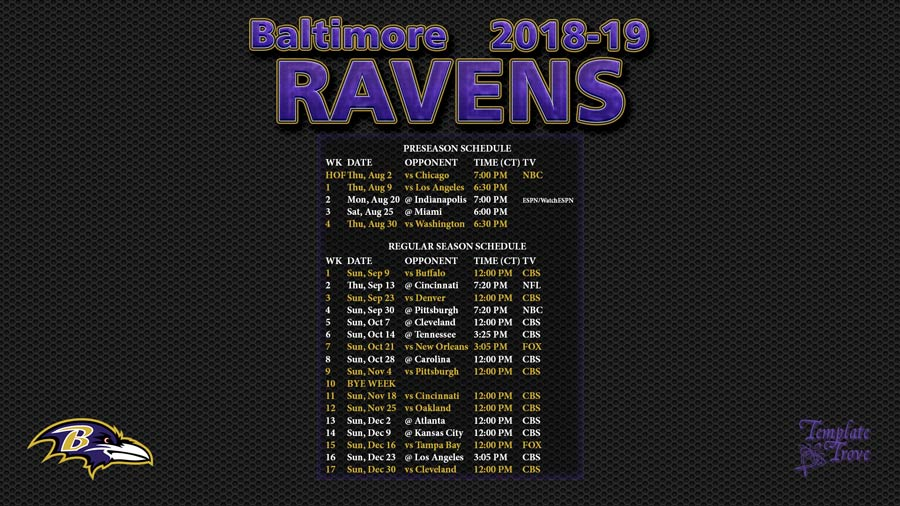 Terrible image within ravens printable schedule