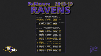 Baltimore Ravens 2018-19 Wallpaper Schedule