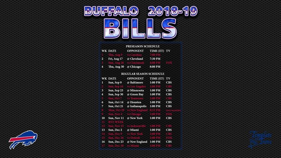 Buffalo Bills 2018 19 Wallpaper Schedule