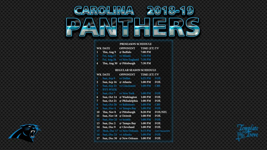 Carolina Panthers 2018-19 Wallpaper Schedule