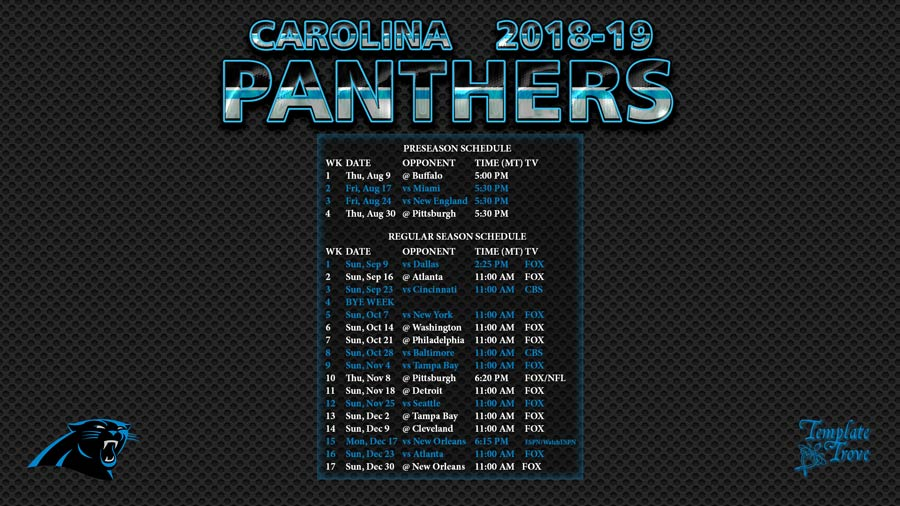 New Orleans Saints 2018 2019 Schedule >> 2018-2019 Carolina Panthers Wallpaper Schedule