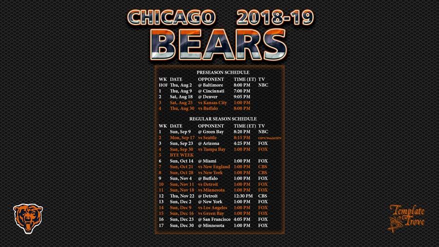 Chicago Bears 2018 19 Wallpaper Schedule
