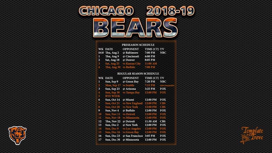 Bears 2018 Regular-Season Schedule
