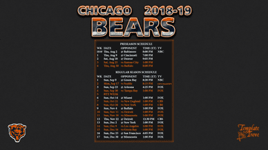 Chicago Bears 2018-19 Wallpaper Schedule