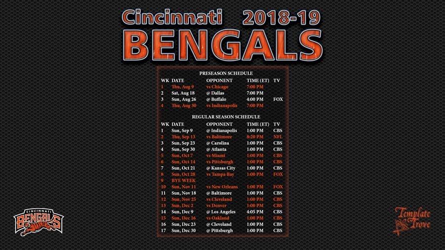 Cincinnati Bengals 2018-19 Wallpaper Schedule