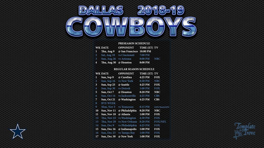 photograph about Printable Dallas Cowboys Schedule named 2018-2019 Dallas Cowboys Wallpaper Timetable