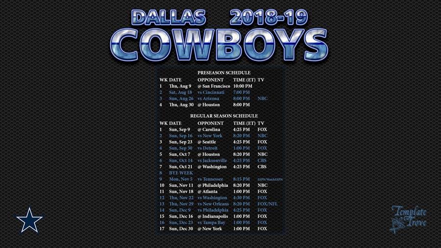 2018 2019 Dallas Cowboys Wallpaper Schedule