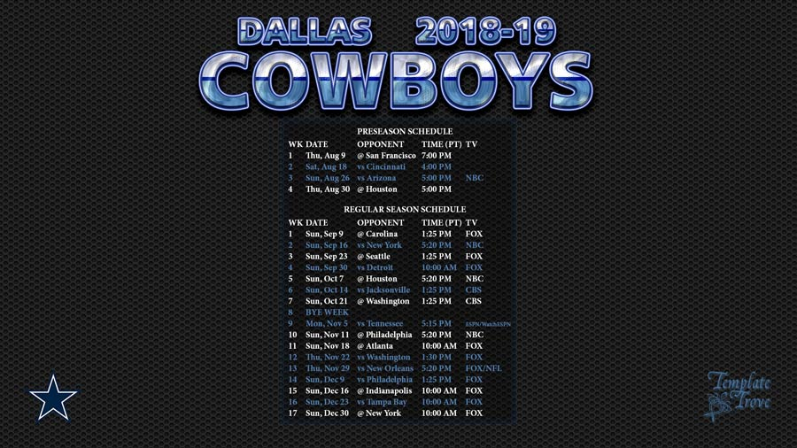 2018-2019 Dallas Cowboys Wallpaper Schedule
