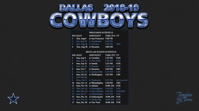 Dallas Cowboys 2018-19 Wallpaper Schedule