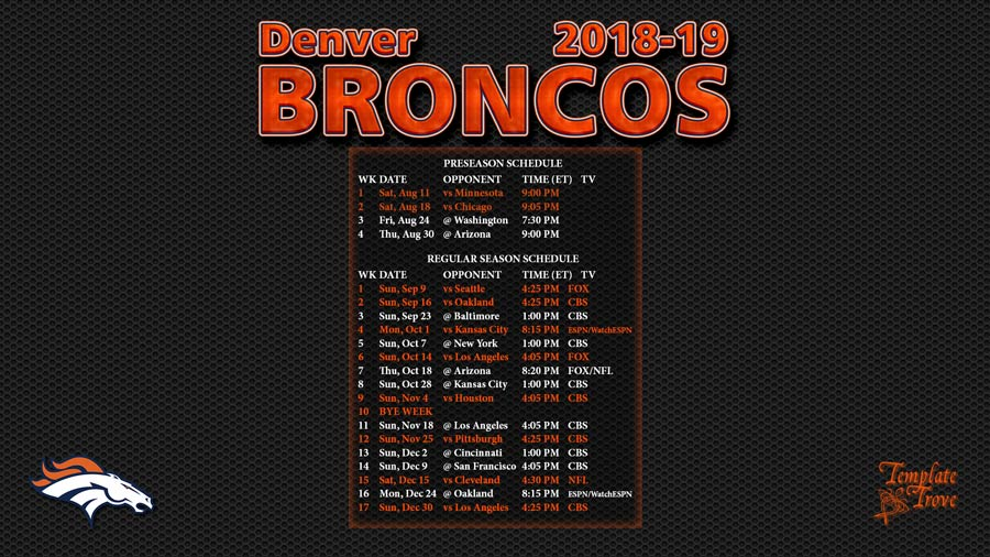 image about Denver Broncos Printable Schedule referred to as 2018-2019 Denver Broncos Wallpaper Program