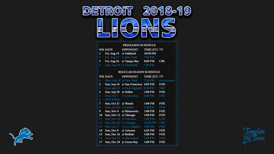 photograph relating to Detroit Lions Printable Schedule named 2018-2019 Detroit Lions Wallpaper Routine