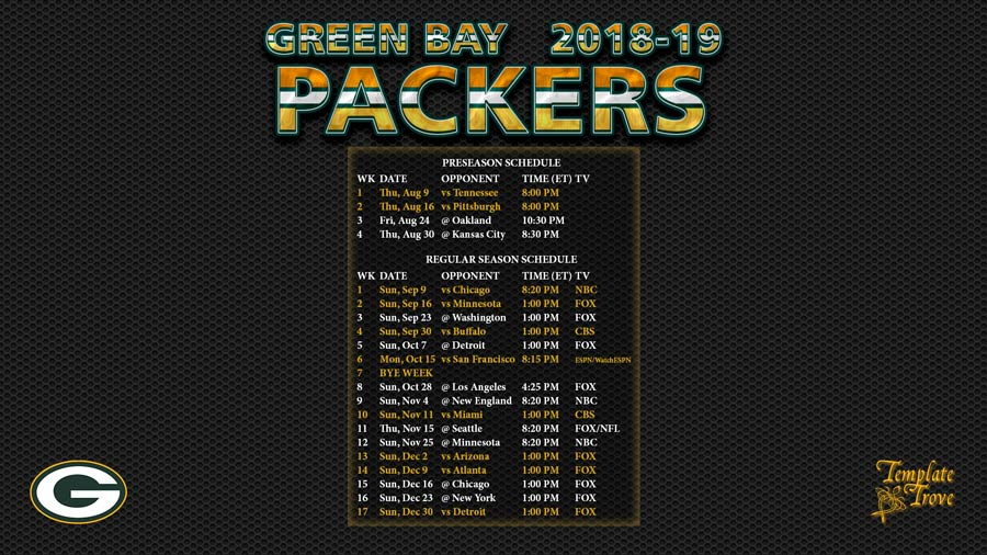 graphic regarding Green Bay Packers Printable Schedule named 2018-2019 Eco-friendly Bay Packers Wallpaper Plan