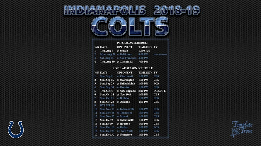 Indianapolis Colts 2018 19 Wallpaper Schedule