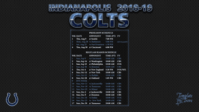 Indianapolis Colts 2018-19 Wallpaper Schedule