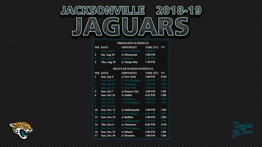 Jacksonville Jaguars 2018 19 Wallpaper Schedule