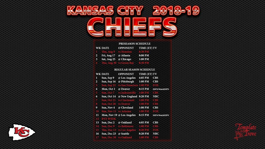 Kansas City Chiefs 2018 19 Wallpaper Schedule