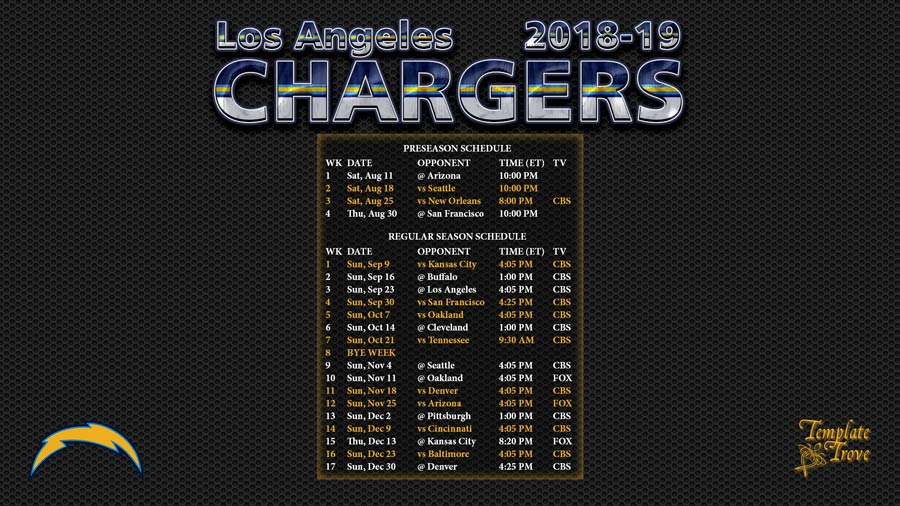 Los Angeles Chargers 2018 19 Wallpaper Schedule