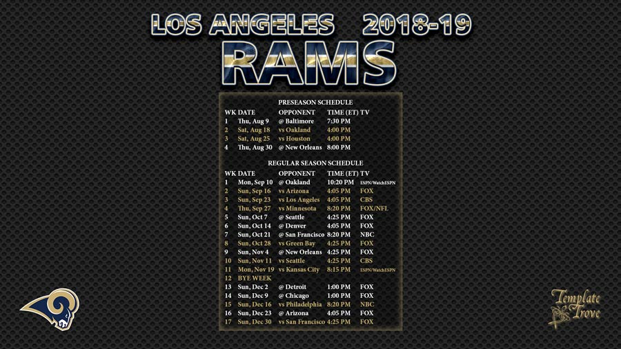 2018-2019 Los Angeles Rams Wallpaper Schedule