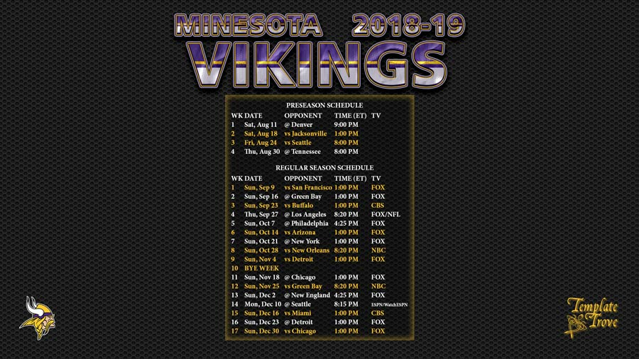 Vikings Schedule 2019 Preseason 2018 2019 Minnesota Vikings Wallpaper Schedule
