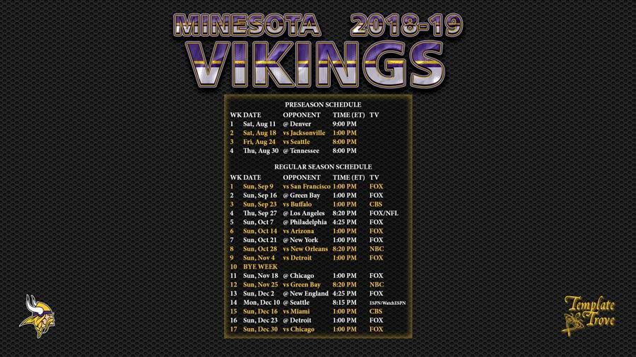 Minnesota Vikings 2018 19 Wallpaper Schedule