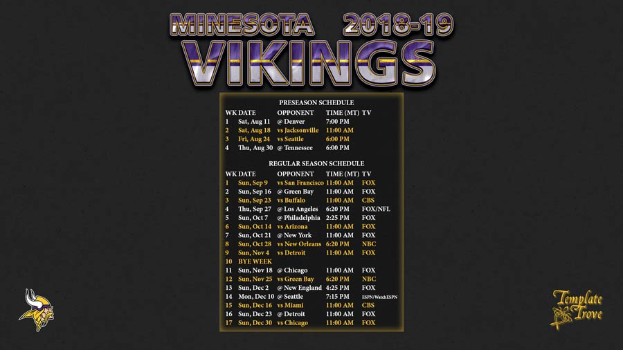 2018-2019 Minnesota Vikings Wallpaper Schedule