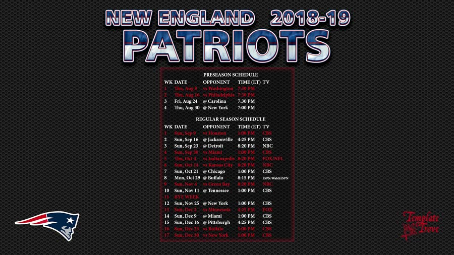 New England Patriots 2018-19 Wallpaper Schedule