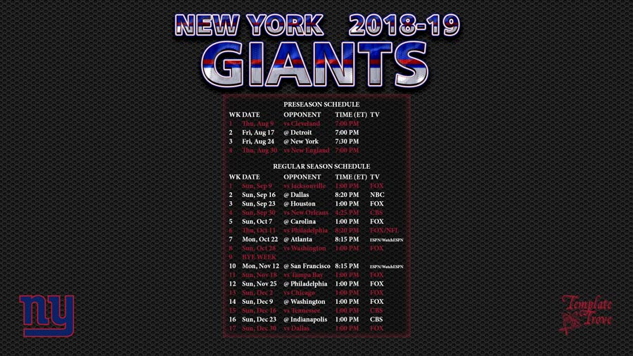 New York Giants 2018-19 Wallpaper Schedule