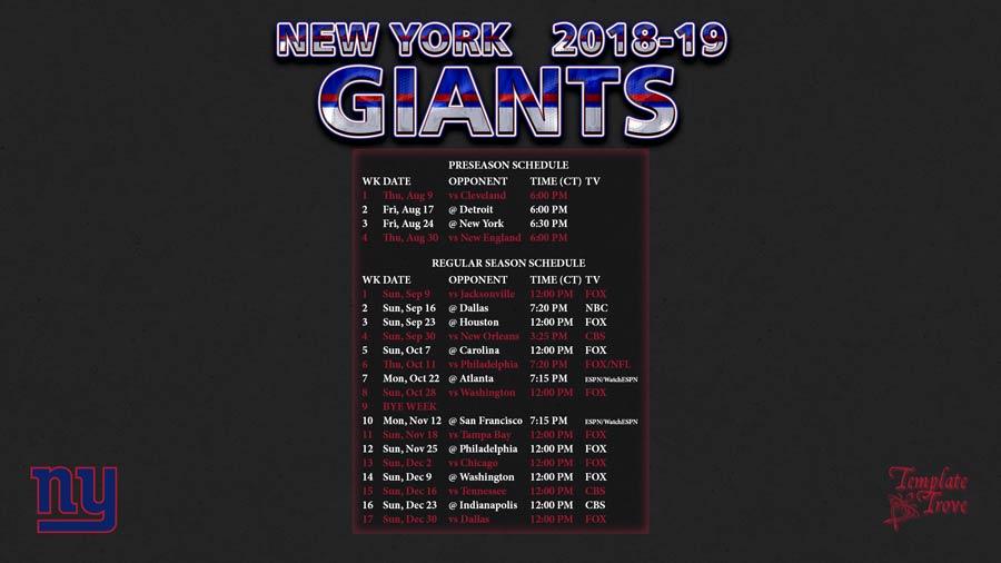 2018-2019 New York Giants Wallpaper Schedule