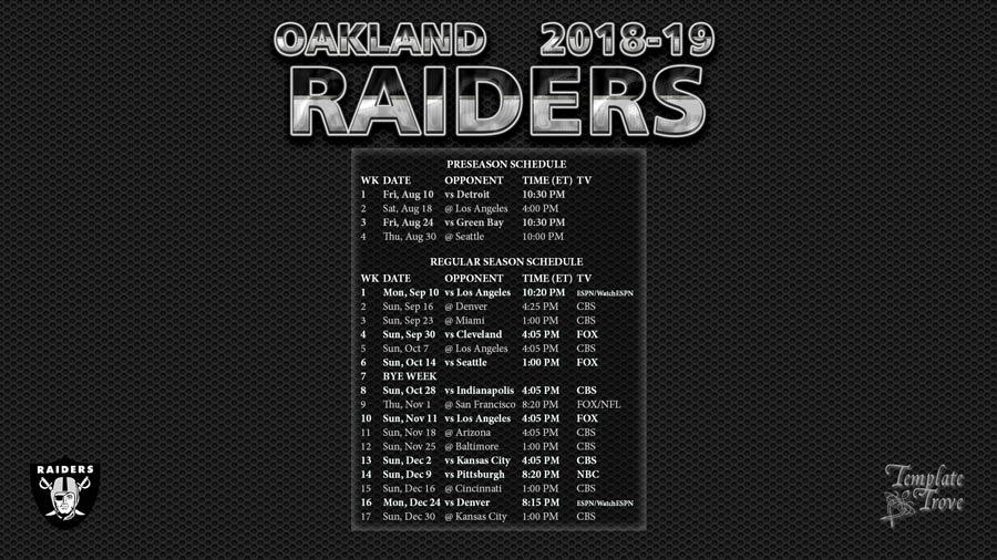 Oakland Raiders 2018-19 Wallpaper Schedule