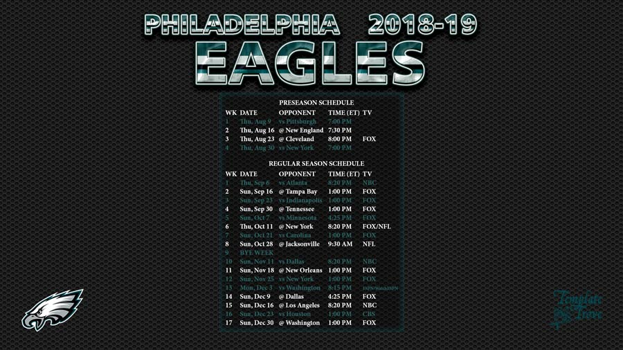 Philadelphia Eagles 2018-19 Wallpaper Schedule