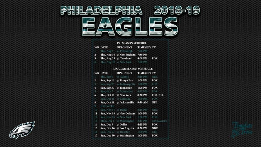photograph regarding Printable Eagles Schedule named 2018-2019 Philadelphia Eagles Wallpaper Plan