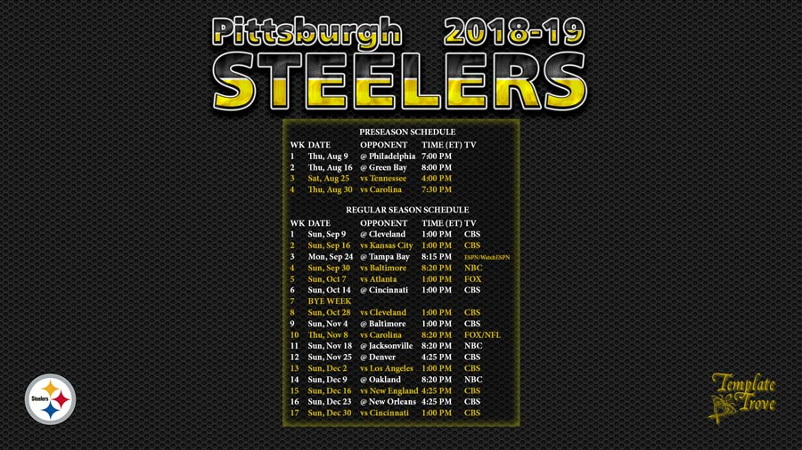 picture regarding Pittsburgh Steelers Printable Schedule named 2018-2019 Pittsburgh Steelers Wallpaper Agenda