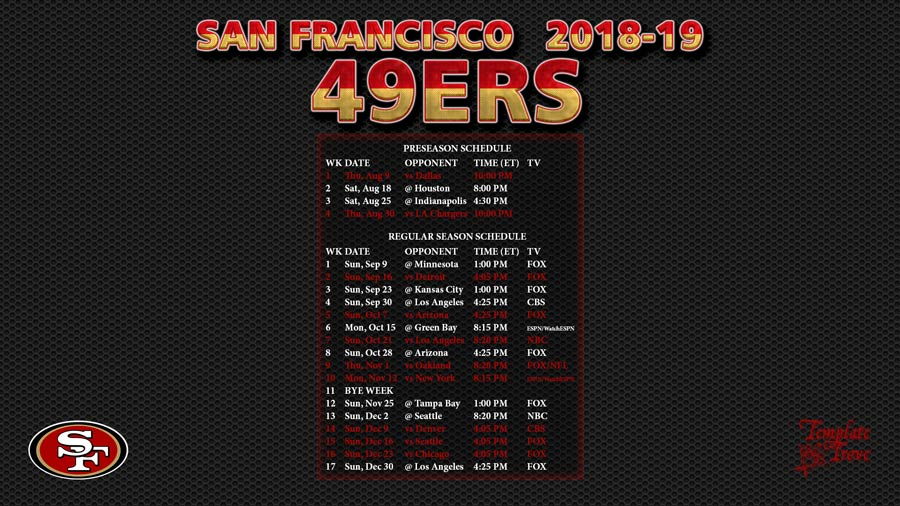 photo regarding 49ers Schedule Printable named 2018-2019 San Francisco 49ers Wallpaper Plan
