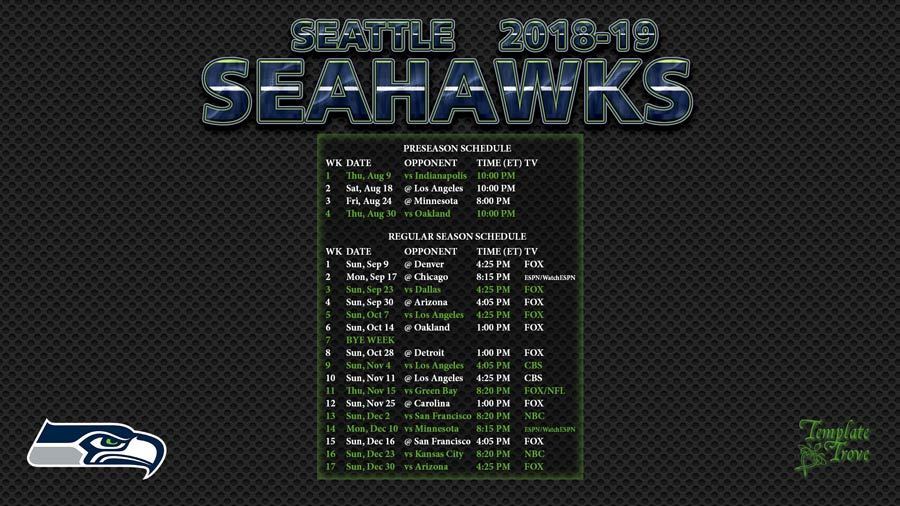 graphic regarding Seattle Seahawks Schedule Printable known as 2018-2019 Seattle Seahawks Wallpaper Agenda