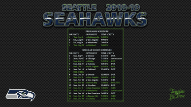 Seattle Seahawks 2018-19 Wallpaper Schedule