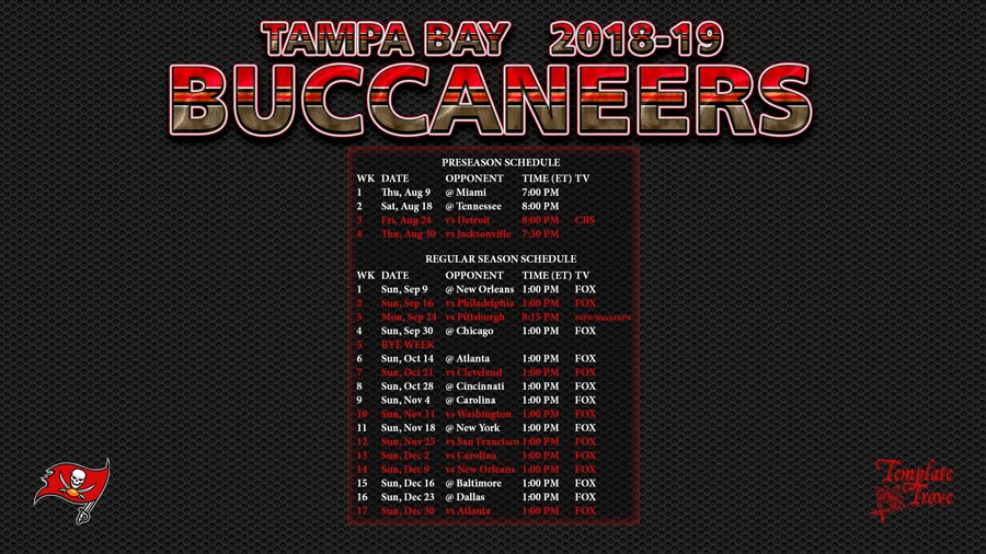 Tampa Bay Buccaneers 2018 19 Wallpaper Schedule
