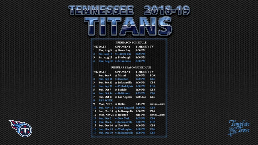 Tennessee Titans 2018 19 Wallpaper Schedule