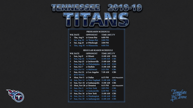 Tennessee Titans 2018-19 Wallpaper Schedule