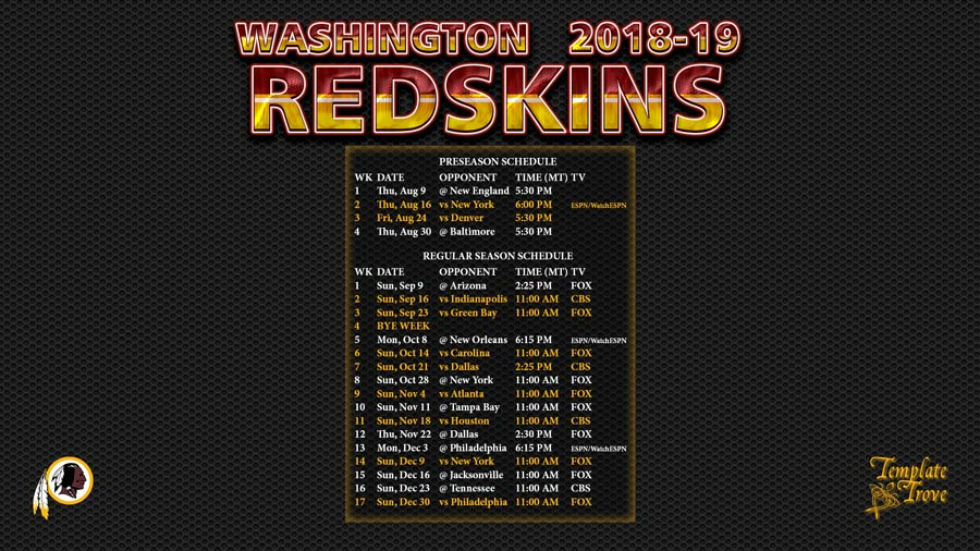 2018-2019 Washington Redskins Wallpaper Schedule